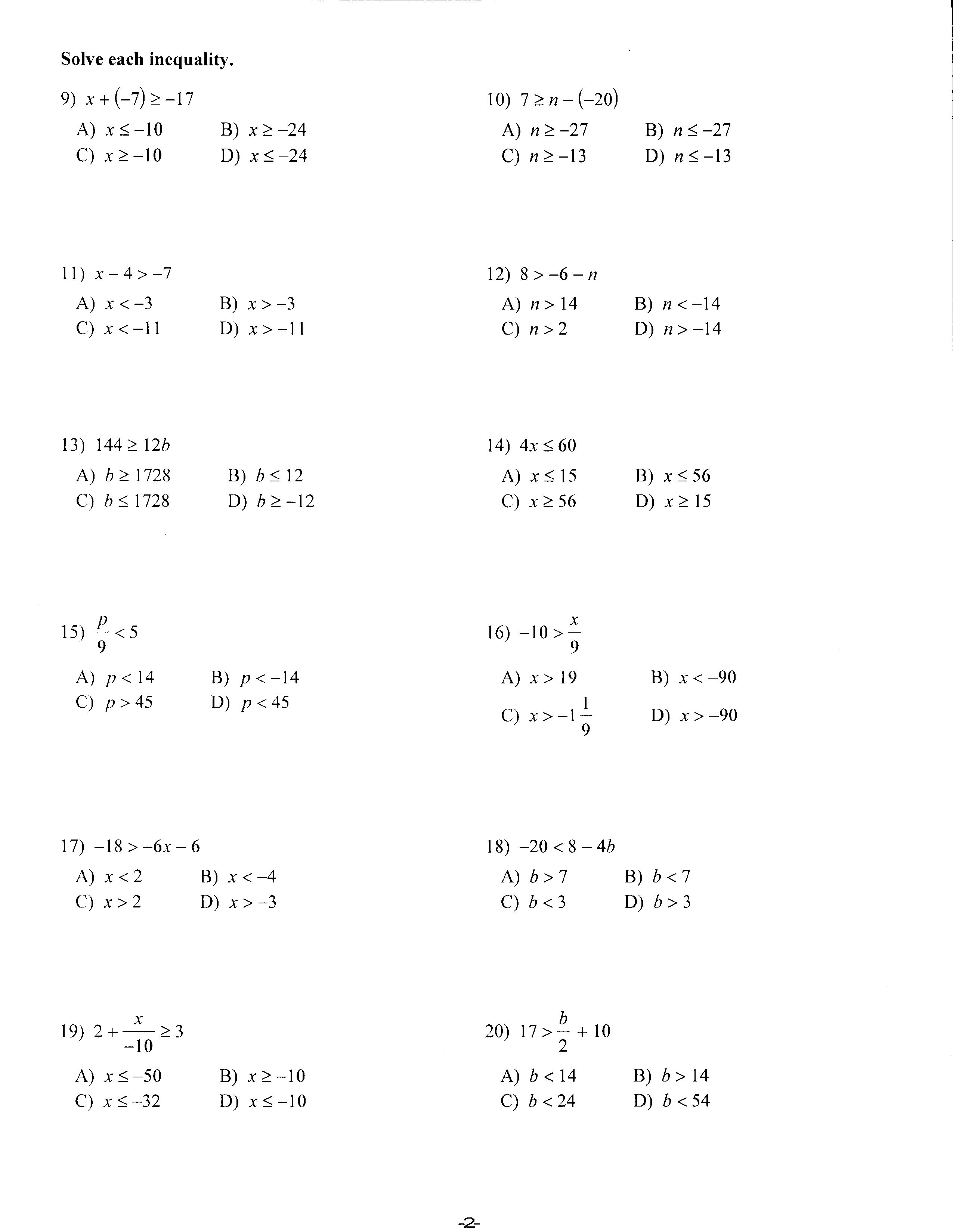 Algebra 1 Worksheets 9th Grade Math
