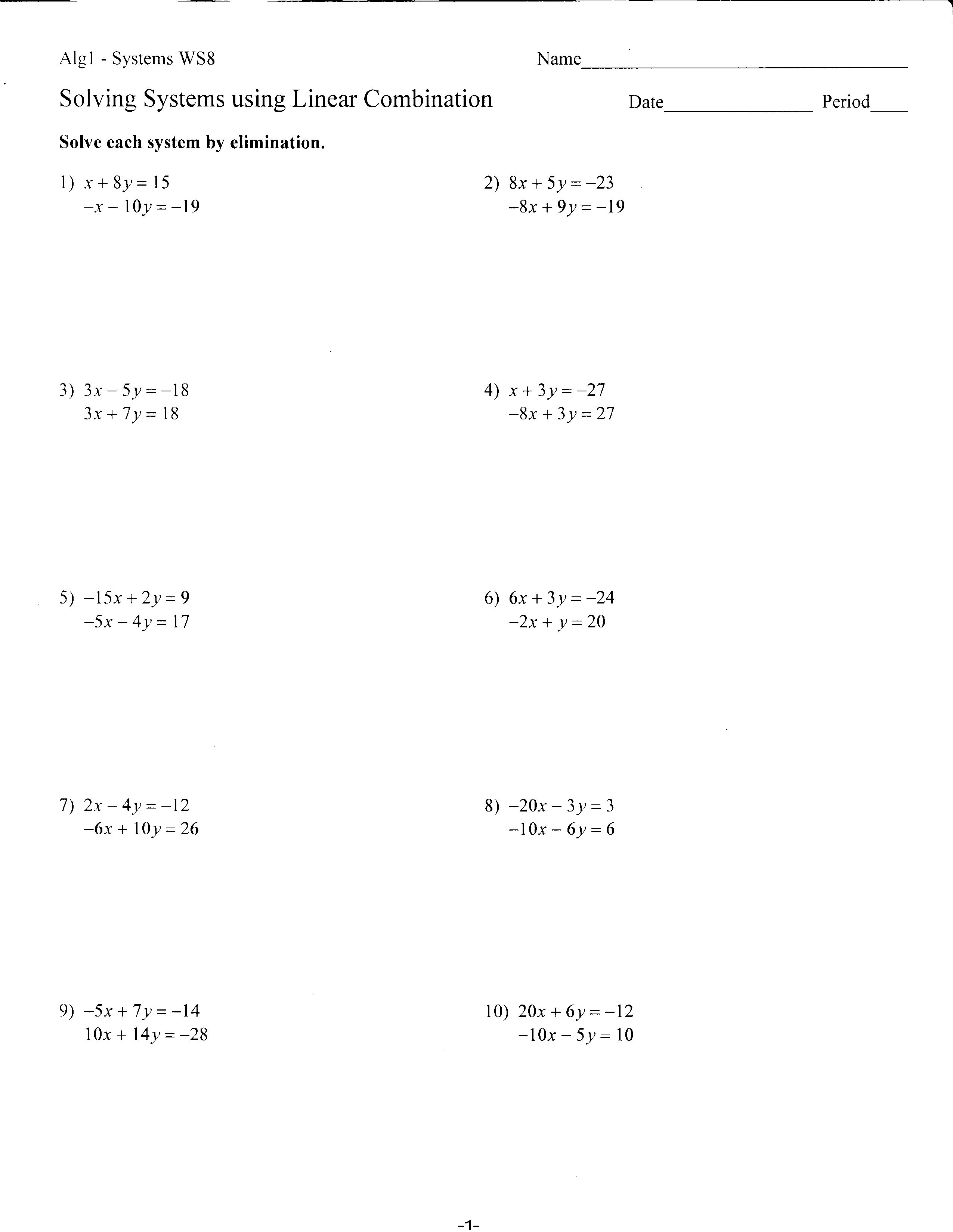 Worksheet Solving Systems Of Equations By Substitution Worksheet worksheets mrs lays webpage 2011 12 36 pink ws8 solving systems using elimination front back